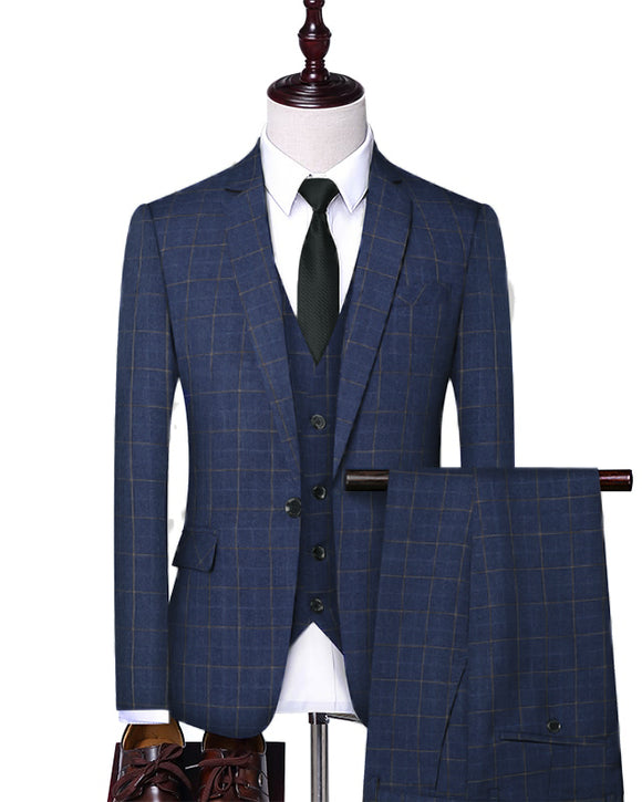 New Classyby SUits Dark Blue Checked Pattern Prom Tuxedos 3 Pieces (jacket+vest+pants))