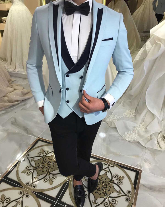 CB0511 Sky Blue Wedding Groom Txudeos with Balck Trim 3 Pieces Outfit suits (Blazer +vest +pants)