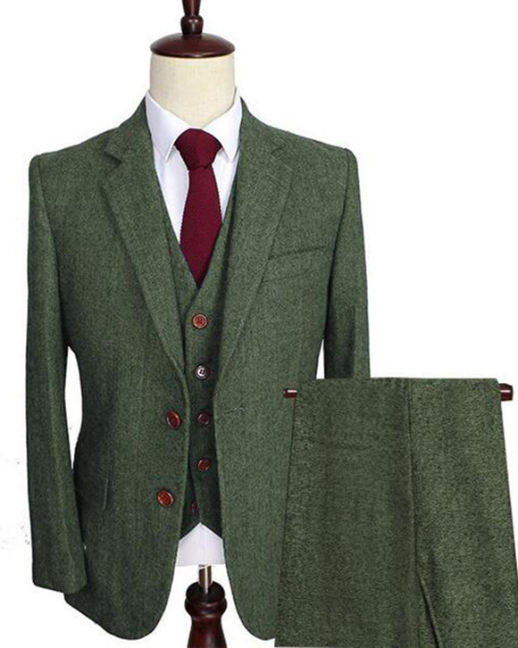 Army Green Men's Wool Tweed Suits 3 Pieces Formal Lapel Notch Herringbone Sports Suit Slim Fit Winter Wedding Blazer  (Jacket+Vest+Pants) CB09212