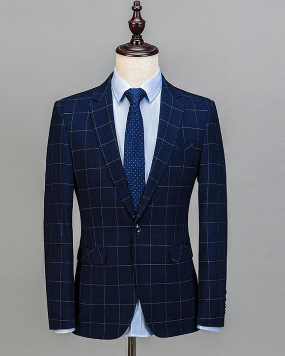One Button North lapel Navy Blue Checked Formal Suits 3 Pieces Plaid Wedding Suits for Men CB08153