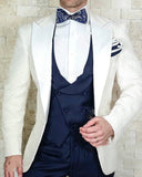 Peak lapel Coat Ivory  Wedding Tuxedos ,Grooms Men  Suits 3 Pieces Costume Garcon CB962