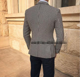 Houndstooth suit men for Groomsmen wedding Men Outfits 2 Pieces(jacket +pants)