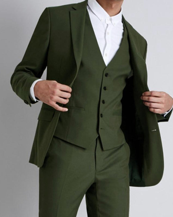 CB0515 Army Green 3 Pieces Prom Suits Outfits Formal Dress Suit for Men /Graduation/Wedding