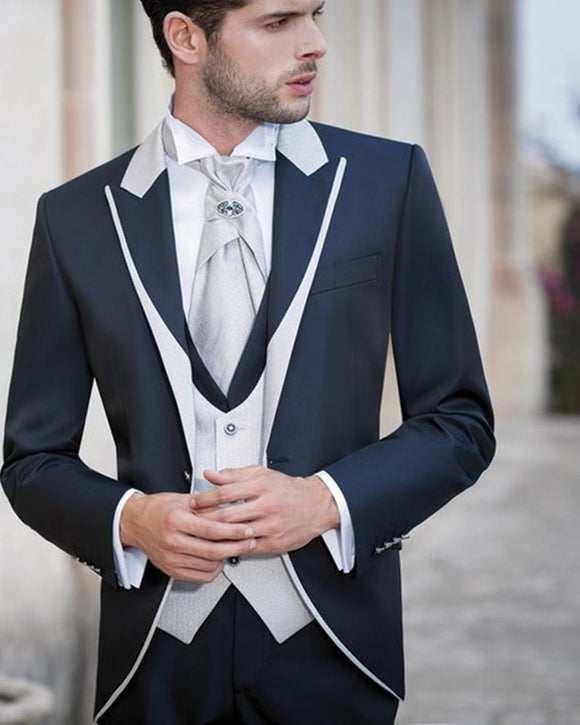 Gentlemen Peak Lapel 3 Pieces White and Navy Blue Groom Suit Wedding tuxedo for Men CB10216