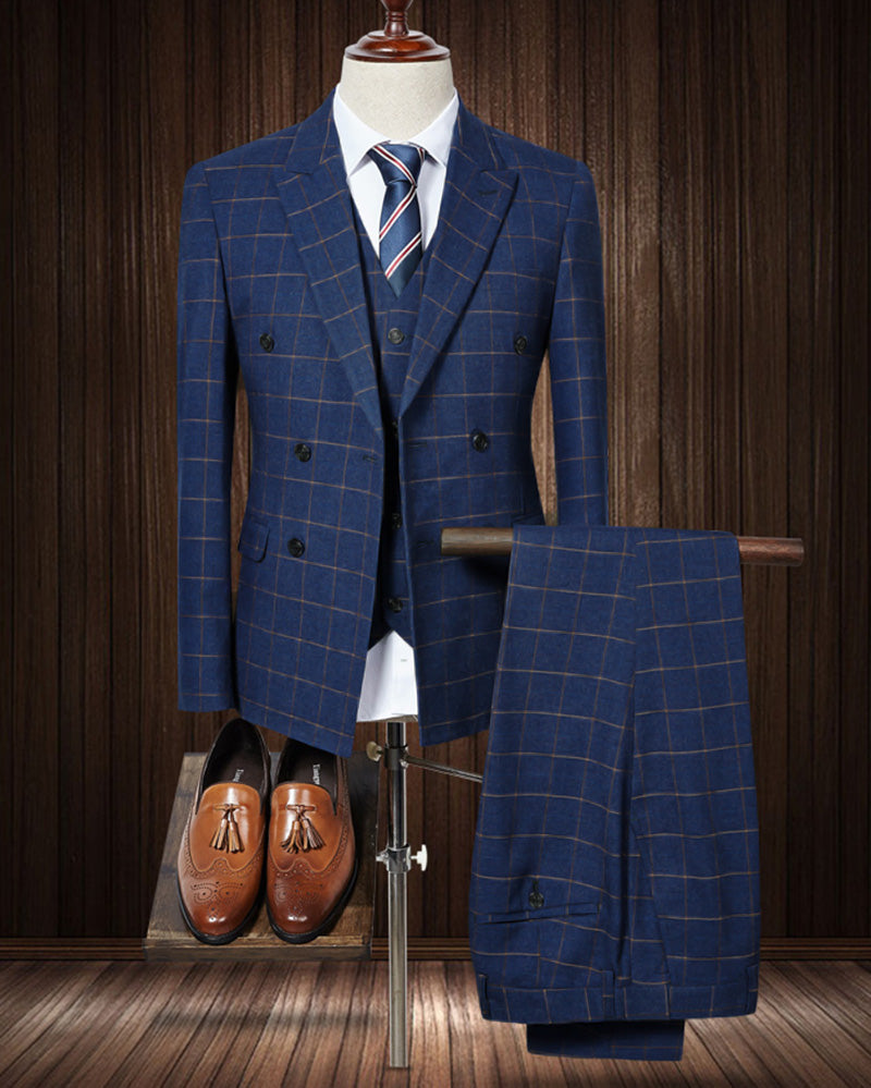Classyby Navy Blue Men Suit 2020 Slim Fit Mens Plaid Checked Suits Gro Classbydress