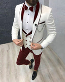 Classyby CB5078 Ivory Wedding Tuxedos with Burgundy Lapel Groom Suits for men 2020 3 Pieces