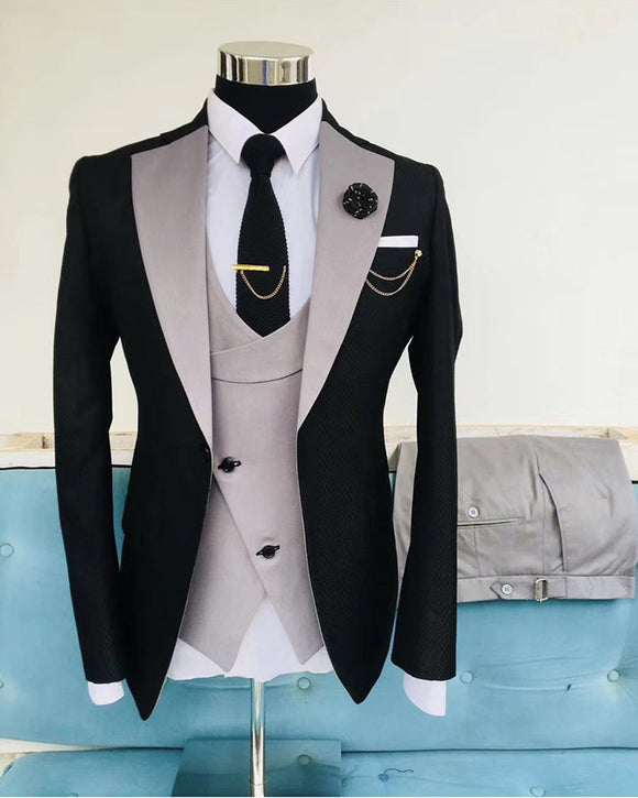 Gray and Black Men's Wedding Tuxedos Suits 3 Pieces Outfit Formal Wear CB1011 (Jacket +waistcoat +pants))