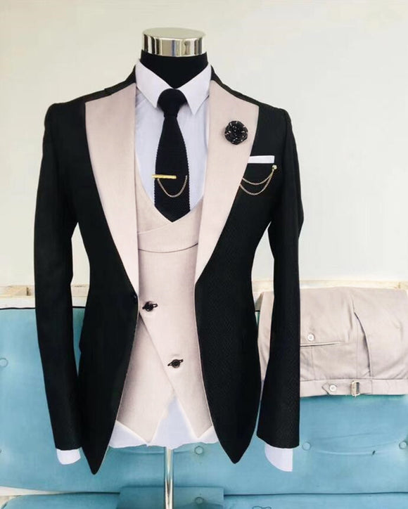 Beige and Black Wedding Tuxedos For Men Wedding Formal Dinner jacket Prom Suits CB10252