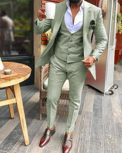 Sage Green Suits Notch Lapel  Men's 3 Pieces  Blazer Latest Silm Fit   Groomsmen For Wedding (Jacket+Vest+Pants)