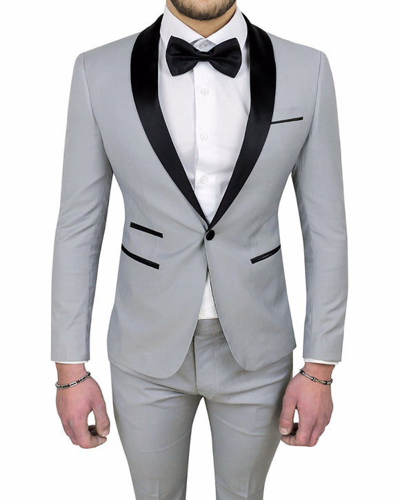 Gentlemen Groom Wedding Slim Fit Grey Tuxedo 2 Pieces formal Prom Suits (jacket +pants)CB01109