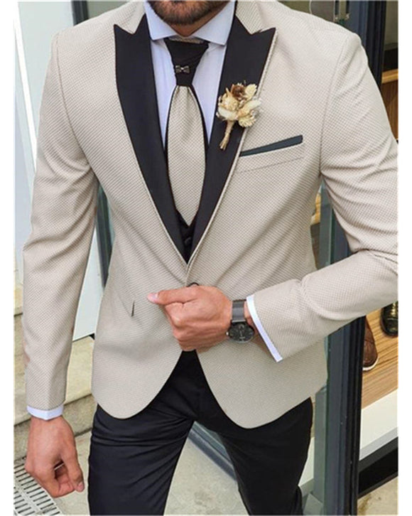 Slim Fit Beige Wedding Tuxedos with Black Satin Lapel ,Men Groom Suits ,Prom Suits 2021 CB01120