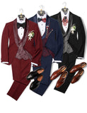 Burgundy Suits Groomsmen Suit Wedding Groom Tuxedo Party Fitting Suit Three Pieces CB0623