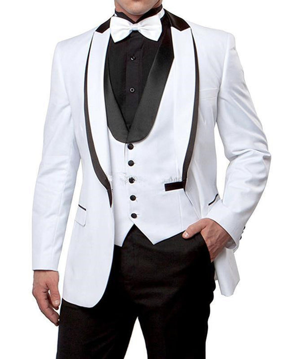 Black and White Groom Suits for Wedding ,2 Pieces Men Tuxedo CB10414