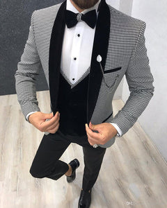 Elegant 3 Piece Men Suit 2020 Morning Dinner Party Prom Suit Houndstooth Groom Wedding Blazer Slim Fit Tuxedo CB895