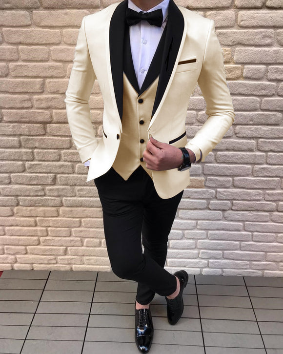 Cream Off White Color Wedding Tuxedo For Men , Black Shawl Lapel 3 Pieces Groom Suits CB0809