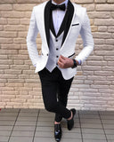 White Groom Tuxedo for Men 3 Pieces Wedding Suits with Satin Black Lapel CB08102
