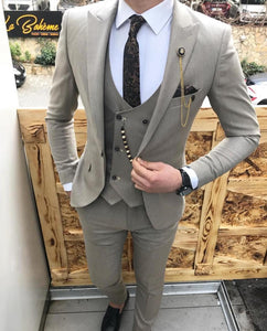 Peak Lapel Slim  Fit 3 Pieces Gray Suits for Men Italy Style Men's Outfits  CB0821