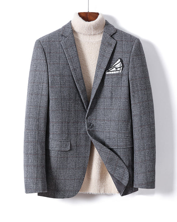 Houndtooth Gray Regular Fit Tweed Wool Suits Jacket Sports Coat Men's Blazer  Outfit Blazer Jacket one Piece Plus Size CB10114