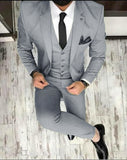 Gray 3 Pieces Blazer Suits Wedding Dress Suits for Men CB0818