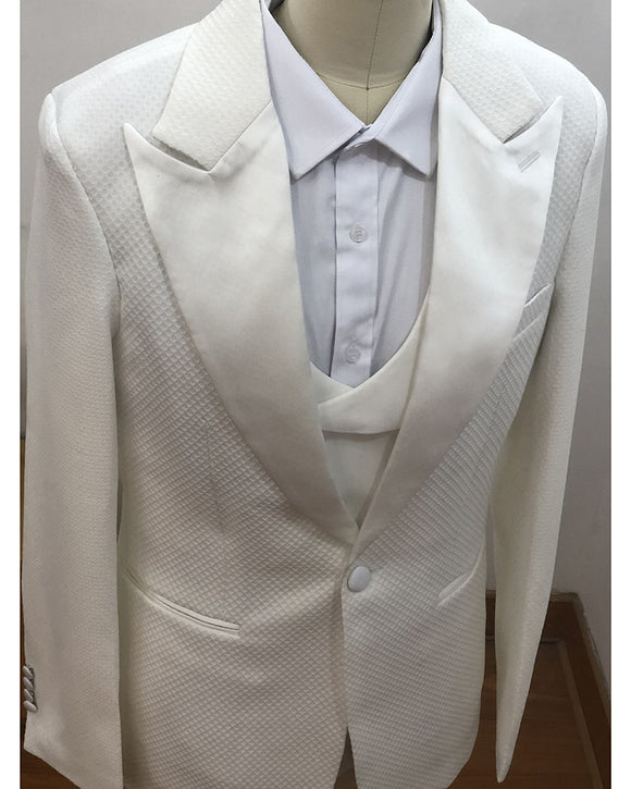 Checked Ivory/off white Groom Suits Wedding Men's Tuxedo 3 Pieces (jacket+vest+pants)CB05131