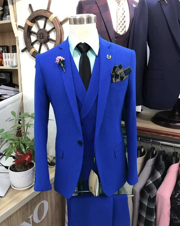 Classic North Lapel One Button Solid Color Royal Blue Slim Fit Groomsmen Suits for Wedding ,Mens Wedding Party Blazer Suits CB10120