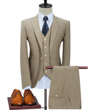 Style Classic Patch Pocket  Linen Peak Lapel Khaki Men's 3 Pieces Blazer Suits,Casual Formal Prom Suits for Man CB0817