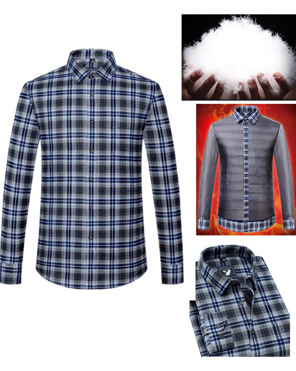 Plaid 90% Feather Shirt Men Winter Warm Flannel Checkered Shirt Men Shirts Long Sleeve Chemise Homme  CB01231
