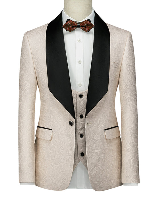 Beige Shawl Satin Lapel 3 Pieces Groomswear Groomsmen Tuxedo Men's Suit for Wedding (Jacket+Pants +vest)CB10210