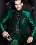 Emeral Green Tuxedos for Men Shinny Satin Wedding Suits 2 Pieces (Jacket +pants)CB0815