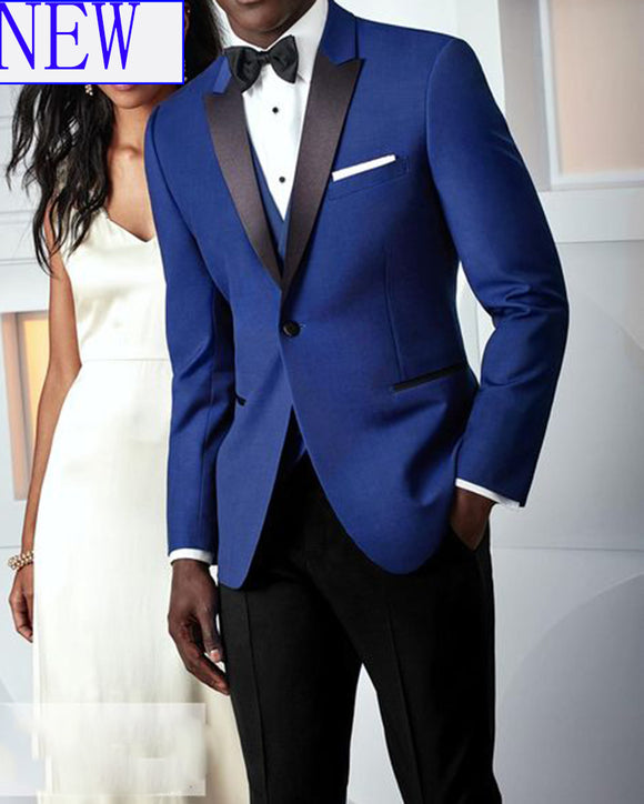 Peak Lapel Royal Blue and Black Groom Wedding Tuxedo Men Suit CB211