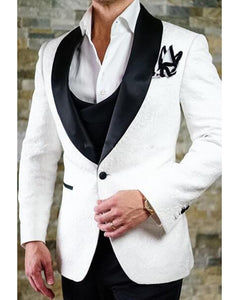Patterned Wedding Tuxedo 2019 for Groom with Black Lapel CB2011 (Jacket +black Pants)