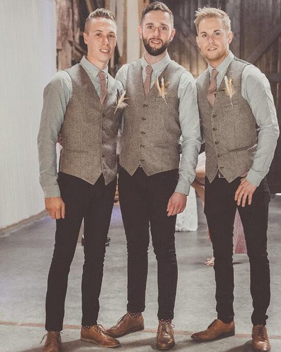 Modest Groom Vests British Style Men's Suit Vests ,Wedding Waistcoat Groomsmen