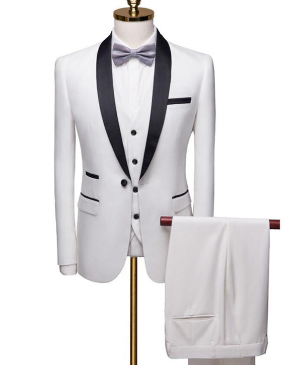 Slim Fit Customized White Wedding Groom Tuxedo Lapel Shawl 3 Pieces Suits (Jacket +pants+waistcoat))