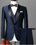 ClassyBy Dark Purple Shawl Lapel &Black Wedding Tuxedo for Men ,Prom Dress Suit 3 Pieces CB654