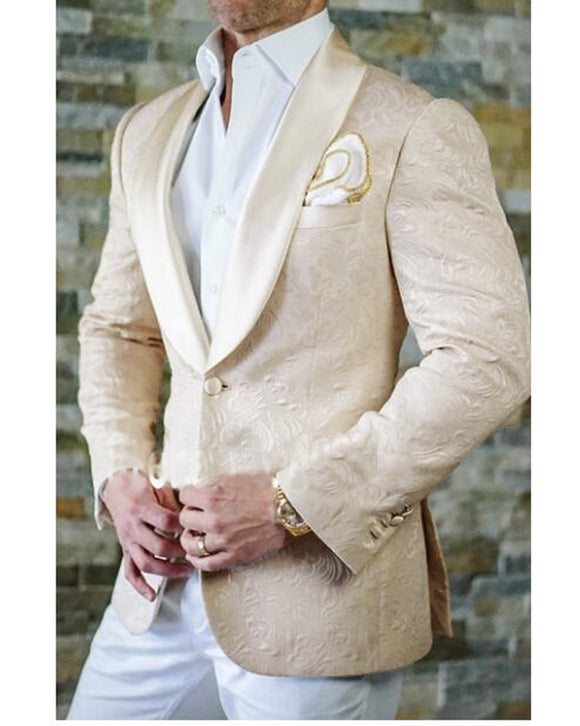 Jacquard Beige Wedding Groom Suits 2 Pieces Tuxedo Blazer Dinner Jacket CB08086