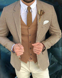 Camel houndstooth 3 Pieces Suits for Men Blazer (jacket+ Vest + Pants) CB604