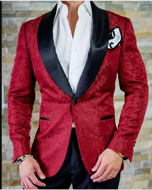 Navy/Burgundy/White Jacquard Blazer for Men  Groom Suits Tuxedos for Wedding 2 Pieces (Jacket+Pants)