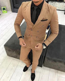 Brown Double Breast Men Tuxedo /Prom Dress suits Blazer Peak Lapel 2 Pieces Jacket+pants