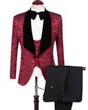 Burgundy Flower Slim Fit Pattern Suits Wedding Groomsmen,Prom  Tuxedos Blazer 2020 CB520