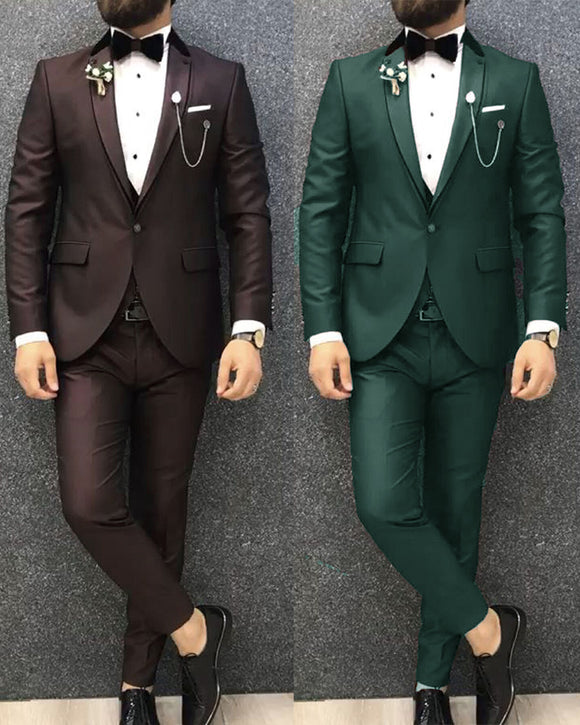 Chocolate/Green Two Pieces Prom Tuxedos 2020 Wedding Attire Men Formal Wear Blazer CB3030
