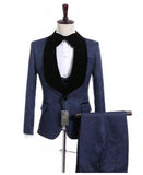 Latest Suits Men Navy Jacquard Wedding Tuxedos for Groom 3 Pieces (jacket coat+vest+pants)