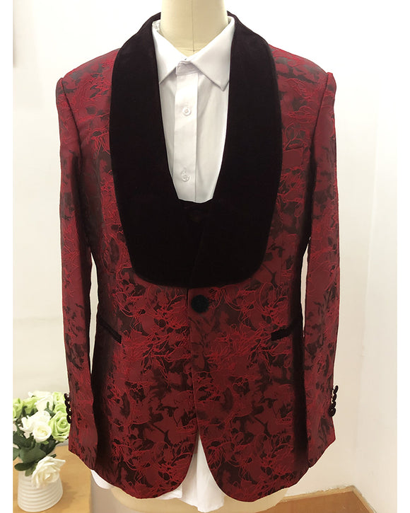 Classyby Jacquard Burgundy/Black Prom Suits ,Groomsmen Wedding Tuxedos 2020 CB6666 3 Pieces (jacket+pants +vest))