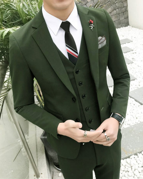 Classyby Dark Green Men Prom Dress Suits For Men Graduation Formal Outfit 3 Pieces