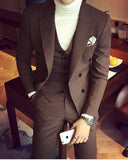 CB1231 Dark Camel Peak Lapel Formal Dress Suit Tuxedos For Men Prom Wear 3 Pieces 2020