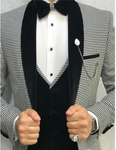 Elegant 3 Piece Men Suit 2020 Morning Dinner Party Prom Suit Houndstoo Classbydress