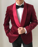 Classyby Shawl Lapel Burgundy Men Prom Suits 2020  Tuxedos 2 Pieces CB6215