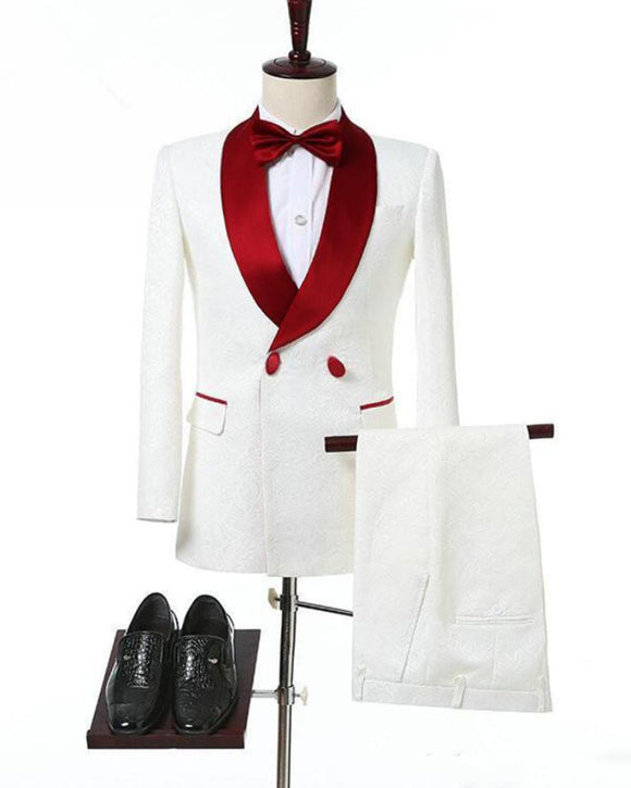 Stylish Ivory Jacquard Wedding Men's Suits Tuxedos for Groom with Burgundy Shawl Lapel 2 Pieces