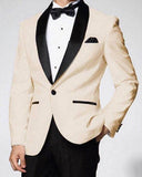 Classyby Slim Fit 2020 Beige Men's Prom Tuxedos For Wedding Groom's Suits with Black Lapel CB20181