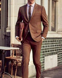 Dark Brown Costume Homme Men's Suits 2 Pieces(Jacket+Pant) Terno Masculino Groom Blazer CB2018
