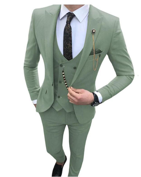 Light Green Blazer Suits for Men  slim fit male 3 piece suits wedding dress men Business Wedding Prom Dinner Suits Groomsman (Jacket+pants+vest))